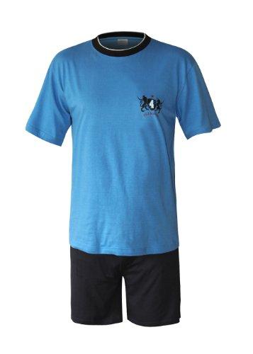 Moonline nightwear Herren Pyjama Schlafanzug kurz Herren Pyjama kurz Herren Shorty Schlafanzug aus 100% Baumwolle (XXL/58-60, Oberteil blau/Hose Uni)