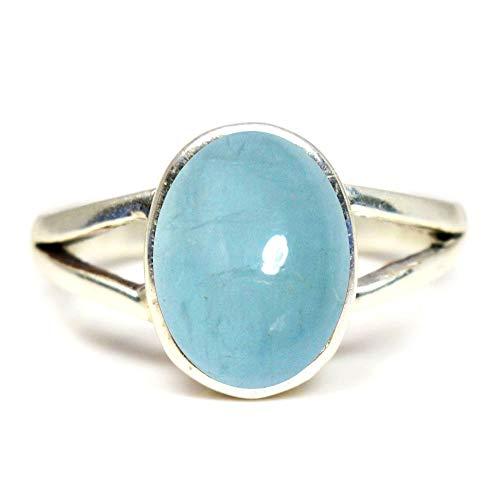 Gemsyogi Herren Damen Unisex - Sterling-Silber 925 Oval Blue Aquamarin