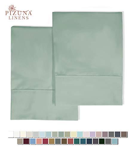 Pizuna 400 Thread Count Cotton Standard Pillowcases Sage 100% Long Staple...