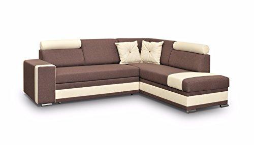 große Ecksofa Sofa Eckcouch Couch mit Schlaffunktion und Bettkasten Ottomane L-Form Schlafsofa Bettsofa Polstergarnitur - JACKSON (Ecksofa Rechts, Braun)