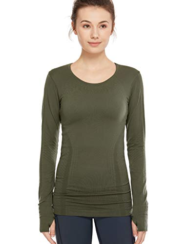 SYROKAN Women's Long Sleeve Workout Tshirts, Running Tops for Women, Yoga Shirts Dark Olive XS