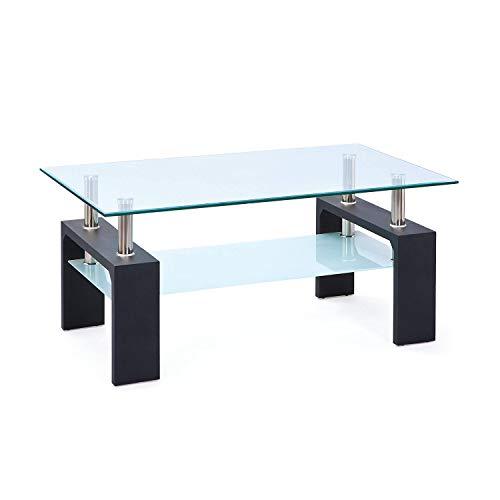 Inter Link 50100045 Couchtisch Glas Wohnzimmertisch Wohnzimmer Tisch Beistelltisch schwarz Glas NEU