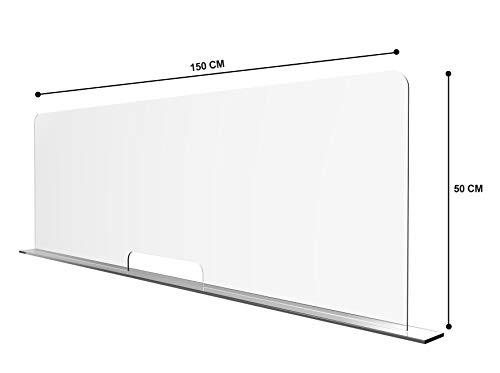 Solarplexius Spuckschutz mit Durchreiche Hustenschutz Niesschutz Virenschutz Thekenaufsatz Tischaufsatz Tresenaufsatz Antibakteriell Transparent Acrylglas (120 x 50 cm)