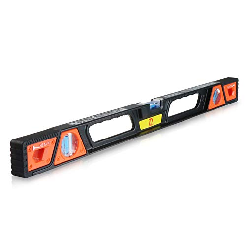 60cm Heavy Duty Magnetic Level Tool Aluminum Alloy I-Beam Spirit Level with 3 Vial(45° 90° 180°)