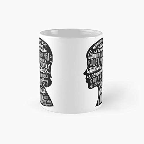 Philippians 48 - Think About These Things Classic Mug Ceramic Coffee White (11 Ounce) Tea Cup Gifts for Bestie, Mom and Dad, Lover, LGBT