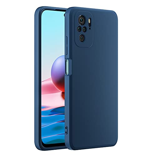 Cresee kompatibel mit Xiaomi Redmi Note 10 4G / Note 10S Hülle Hülle, Silikon Handyhülle mit [Kamera Schutz] [Faser-Innenraum] Anti-Scratch Dünn Schutzhülle Stoßfest Cover, Blau