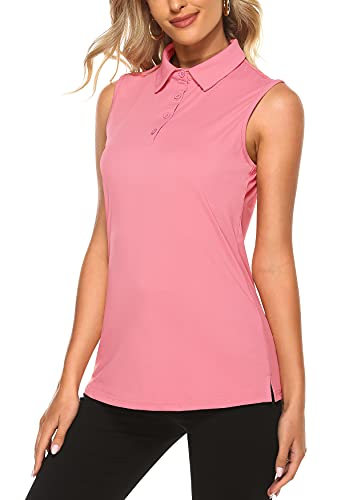 KORALHY Golf Tank Top Women, Womans UPF 50+ Tennis Polo Shirts for Hiking Camping Outoor Fishing Marathon Sailing Loose Fitting Sleeveless Tops Pink X-Large