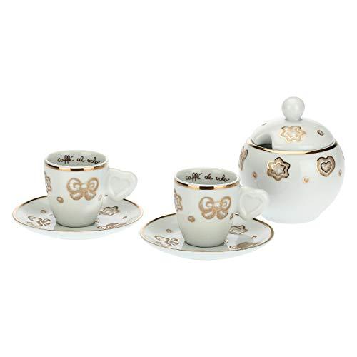 THUN - Set 2 Tazzine da caffè e Zuccheriera con Decorazioni Natalizie - Natale - Accessori Cucina - Linea Gold Icons - Porcellana, Oro 24 K - Tazzina 70 ml, Zuccheriera 300 ml