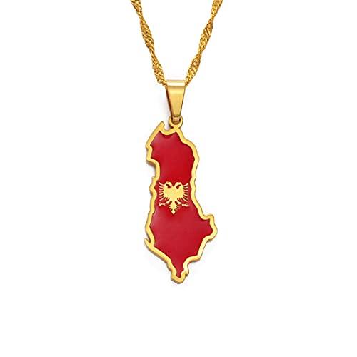 Collar con personalidad, mapa de Albania y collares con colgante de bandera de águila para mujeres, hombres, color dorado / color plateado, cadena colgante albanesa