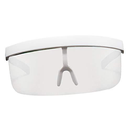 B Baosity Gafas de Sol Unisex con Montura de Gran Tamaño, Protector Facial, Lentes Espejadas, Parte Plana Retro UV400 - Marco Blanco, 160x64 mm