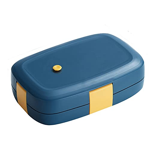MSLD Stainless Steel Insulated Lunch Box Can Be Filled with Water Portable Lunchbox for Student Office Worker Cute Bento Box (Color : A)