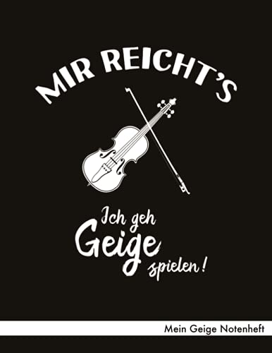 Mein Geige Notenheft: Notenheft ca. A4 mit 40 Seiten Notenpapier (Lineatur 14), Referenz Notenschrift, Inhaltsverzeichnis - Design