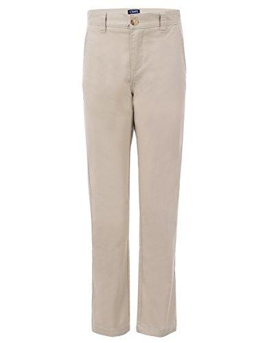 Chaps Boys' Big Flat Front Twill Chino Pants, Khaki, 14