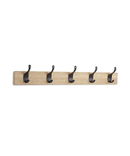 AmazonBasics - Perchero de madera de pared, 5 ganchos modernos 57 cm, Natural, 2 unidades