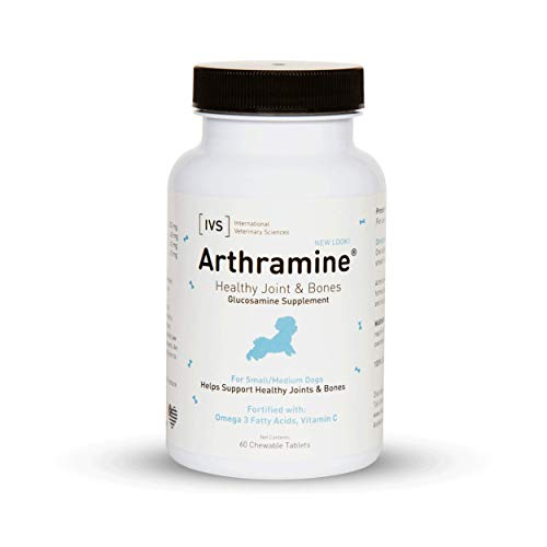 International Veterinary Sciences IVS Arthramine Healthy Joints Glucosamine Supplement with Fish Oil and Vitamin C for Small/Medium Dogs  Made in the USA  60 Count