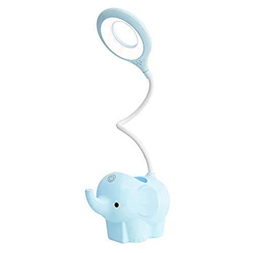Mogzank LáMpara de Escritorio Little Elephant con Puerto de Carga USB LáMparas de Mesa Que Cuidan la Vista LáMpara de Estudio LED LáMpara de Noche Regulable Azul