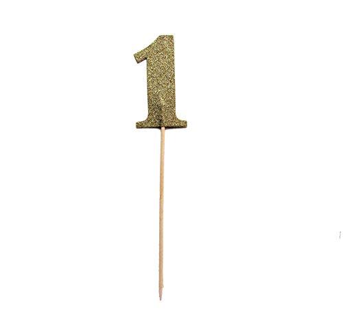 Paper Eskimo Gold glinsterende getallen taart-decoratieve topper - cijfer 1