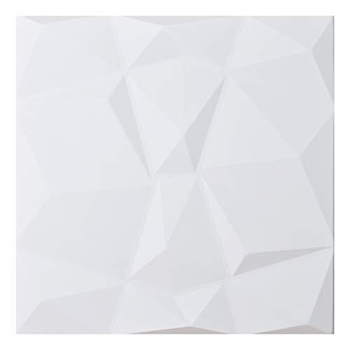 Art3d 3D Lederfliesen Decoartive 3D Wandpaneele, weiße Diamanten, 59,9 x 59,9 cm, 6 Stück