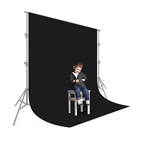 UTEBIT Fondo fotográfico negro 2,5 x 2,5 m / 8 x 8 pies plegable fotografía estudio cámara fondo fondo fondo fotografía resistencia poliéster para fotografía de vídeo