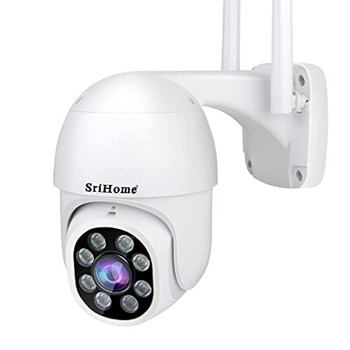 SriHome - Cámara WiFi exterior Full HD 1080P, cámara IP con visión nocturna, 1080P PTZ IP, cámara de vigilancia con pan 350° y inclinación 90°, detección humana, audio bidireccional