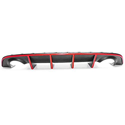 IKON MOTORSPORTS Bumper Lip Spoiler Compatible With 2015-2021 Dodge Charger SRT, Factory Style Rear Diffuser with Red Reflective Tape