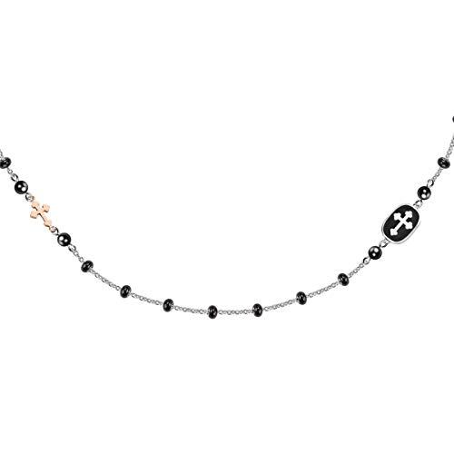 Morellato Collana da uomo, Collezione God, in acciaio, PVD oro rosa, onice - SANF15