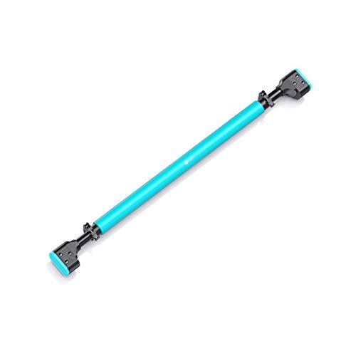 LIINAWSHG LINWSH Trampoline Barra del Levantamiento de Umbral - Chin-Up Bar, con la Mano extendida Grips - 3 Calidad Profesional muñeca Correas, 72-100cm Longitud Ajustable (Color : Blue)