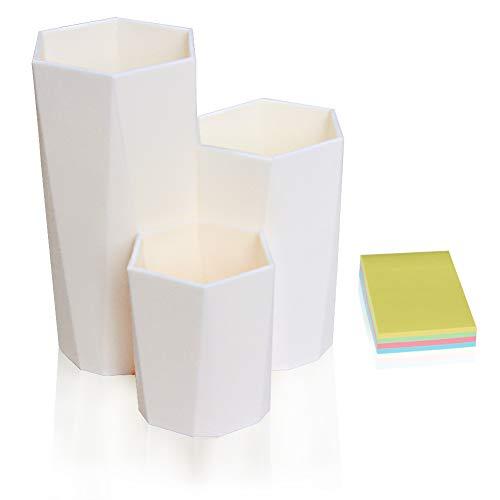DARUITE Pot a Crayon Hexagonal Multifonction Organisateur de Bureau pour Rangement Maquillage, Pinceaux, Stylos, Papeterie, Accessoire Bureau Crème