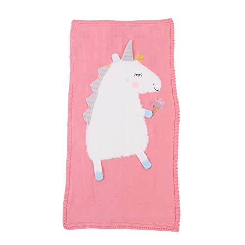 Occ Mantas Swaddle Wrap Bebé,Mantita Infantil de Punto de Patrón de Unicornio,Mantitas Arrullo para Cochecito,120×60CM
