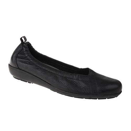 Natural Feet Damen Ballerina Polina | Echtes Hirschleder | Weite H | Hallux geeignet 38 schwarz