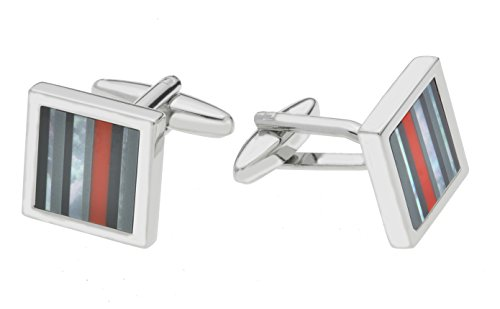 Code Red Men's Base Metal Rhodium Plated Cufflinks with Real Onyx