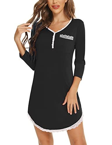 Enjoyoself Camisón Mujer Algodon con Cuello en v Botón y 3/4 Mangas ,Pijamas Sexy Mujer Encaje Camisones Mujer y Suave Ropa de Dormir