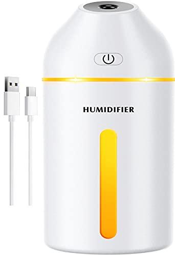 Homasy USB Luftbefeuchter, Mini Luftbefeuchter mit Warmes Licht, USB Luftbefeuchter für Baby Schlafzimmer ,19 dB 2 Nebelmodi, bis zu 8 Stunden-Weiß
