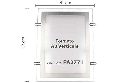 Visbord acryl helder LED dun A3 verticale kabeluitschuifbaar voor Vitrine Negozio Bar Agenzie Immobiliari