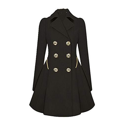 N\P Las mujeres de primavera largo viento abrigo con doble botón azul sólido color manga larga Tops Oficina señora Trench Outwear