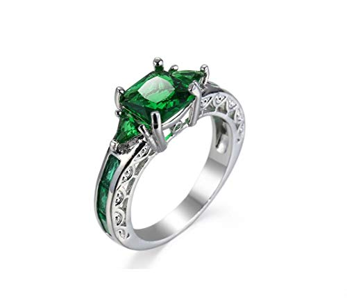 YUANYI Women's Fashion Platinum Square Emerald Green Cubic Zirconia Bridal Engagement Wedding Ring Size 6-10 (9)