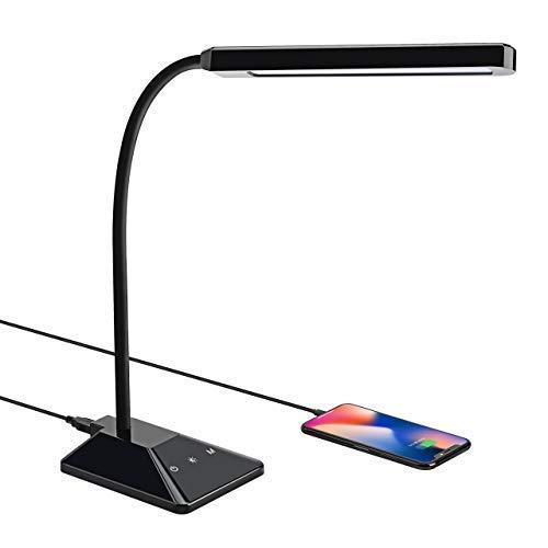 VICTSING LED Schreibtischlampe mit USB-Ladeanschluss,5 Modi & 5 Helligkeitsstufen,Augenschutz Tischlampe,Flexo-Tischleuchte 8W dimmbare,Berührungssteuerung,geringer Stromverbrauch[Energieklasse A+]