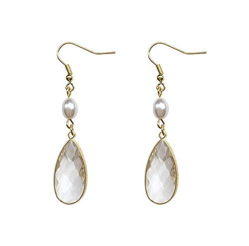 Korean Elegant Romantic Pearl Transparent Ripple Crystal Glass Water Drop Pendent Earrings for Women Girls Kids Ear Jewelry Gift 2pcs