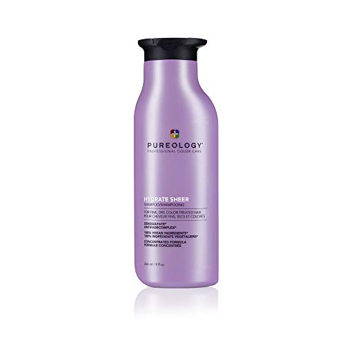 Pureology Hydrate Sheer Shampoo | For Fine, Dry, Color-Treated Hair | Lightweight Hydrating Shampoo | Silicone-Free | Vegan | Updated Packaging | 9 Fl. Oz. |