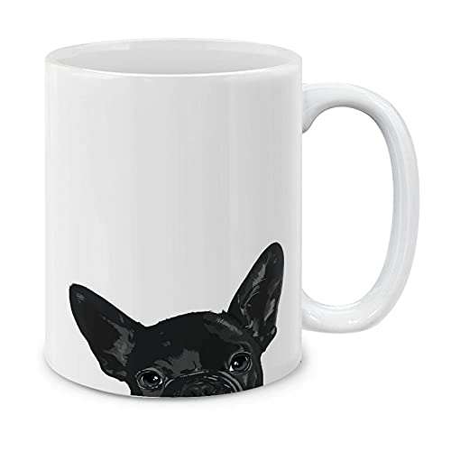MUGBREW French Bulldog Puppy Dog Black Ceramic Coffee Mug Tea Cup, 11 OZ