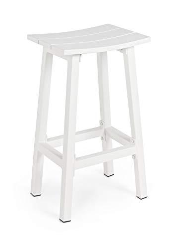 Sgabello Bar per Esterno in Alluminio Modello Skipper Colore Bianco cm. 41,8 x 31 x h. 71