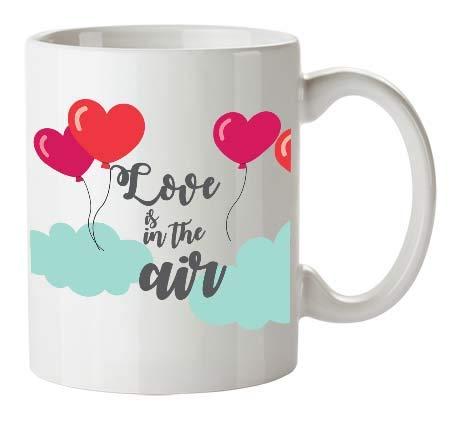 Kembilove Tazas de Desayuno para Parejas – Taza de Café con Frase Divertida y Graciosa para Enamorados Love is in The Air – Tazas para Regalar el día de los Enamorados y San Valentín