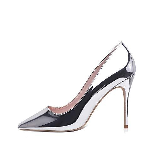 Hoher Absatz, 10 cm / 3,94 Zoll Stiletto High Heel Schuhe für Frauen Spitz Party Abendkleid Pumps Prom 10CM-SR-39 EU/ Etikettgröße- 9,Silber