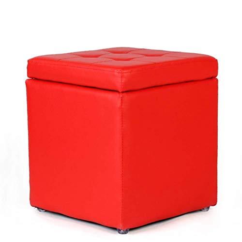 XBCDX Uare - otomana de Almacenamiento, reposapiés copetudo de Colores Dulces con Tapa abatible, Bonito reposapiés Acolchado para Asiento, Piel sintética, Rojo 30x30x35cm (12x12x14 Pulgadas)