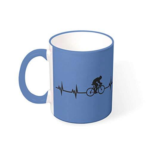 STELULI Taza de café Ciclismo Heartbeat Durable Cerámica Retro Moda – Heartbeat Milk Mug Fits Office Steel Blue 330ml