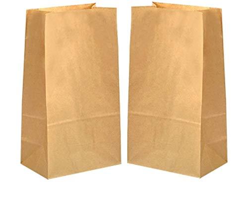 ZKSM 100 Stück Kraftpapiertüten Brotbeutel öldicht 12 x 7 x 21.5 cm Super Papiertüten für den Adventskalender, kleine Geschenke, Tee, Schulfest, Kinderfest, Kindergeburtstag(70 gr./m²)