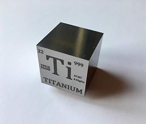 Cubo o pisapapeles de titanio (Ti) de 74 gramos (aprox. 2,4o