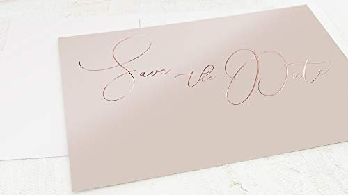 sendmoments Einladung Save the Date Hochzeit Karten, Postkarten mit Roségold Veredelung, zum persönlichen Beschriften, Zartes Ja, 5er Karten-Set im Querformat, optional passende C6 Umschläge