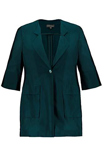 Ulla Popken Damen große Größen Jacke, Schimmer Revers, 3/4-Ärmel, Selection dunkler smaragd 46 747686 40-46