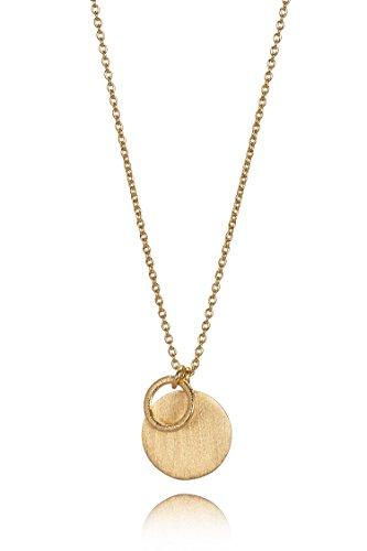 Pernille Corydon Lange Halskette Gold Plättchen Ring - Damenkette Coin & Ring 925er Sterling Silber vergoldet 90 cm - N220g